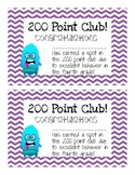 200 Point Club Certificate