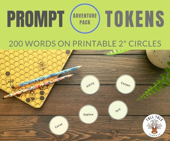 200 Prompt Tokens, Adventure Pack, Creative Writing, Printable 2 Inch Circles