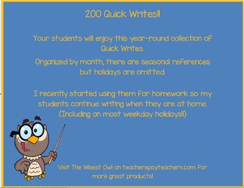 200 Quick Writes Organized by Month.