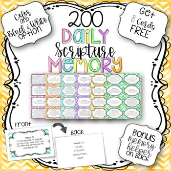 200 Scripture Memory Cards with Memory Helper