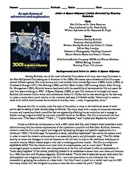 2001: A Space Odyssey Film (1968) Study Guide Movie Packet