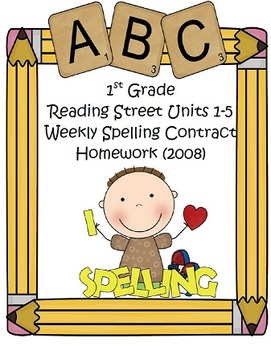 2008 Reading Street 1st Grade Differentiated Spelling Homework Bundle (Editable)