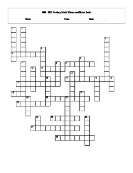 2009 - 2015 Newbery Medal Winner and Honors Books Crossword with Key