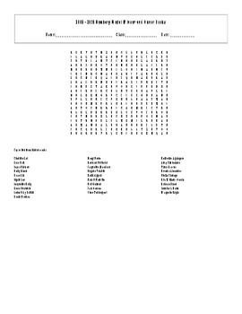 2009 - 2015 Newbery Medal Winner and Honors Books Word Search with Key