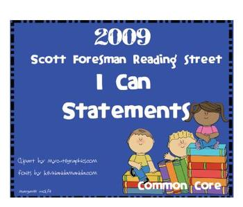 "2009 Common Core ""I Can"" Reference Pages and Cards Units 1-5 1st Gr. Rdg St."