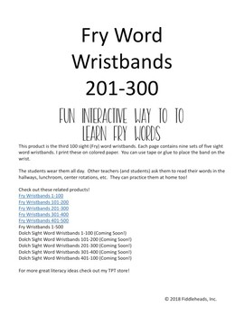 201-300 Fry Sight Word Wristbands