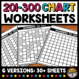 201 TO 300 CHART WORKSHEETS BLANK & FILL IN THE MISSING NU