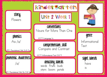 2011 Kindergarten Reading Street Unit 2 Target Skills