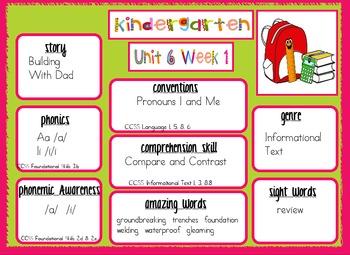 2011 Kindergarten Reading Street Unit 6 Target Skills