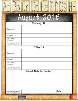 2015 - 2016 Student Planner Chalkboard Theme