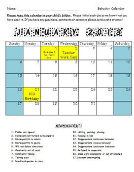 2012-2013 Behavior Calendars by Month