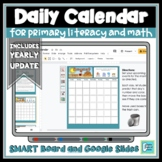 Daily Calendar Interactive Whiteboard and Google Slides -