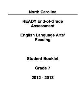 2012-2013 North Carolina Grade 7 ELA Release Test_Without