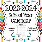 2016-2017 School Year Calendar with Behavior Management Tool