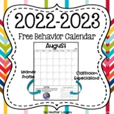 Classroom Calendar for 2018-19 with Behavior Management Tool