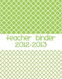 2012-2013 Teacher Binder Covers