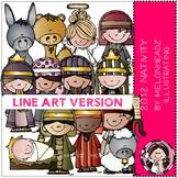 Nativity clip art - 2012 - LINE ART- by Melonheadz