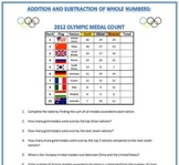 2012 Olympic Medal Count: Addition and Subtraction of Whole Numbers