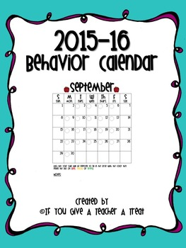 2015-16 Behavior Calendar