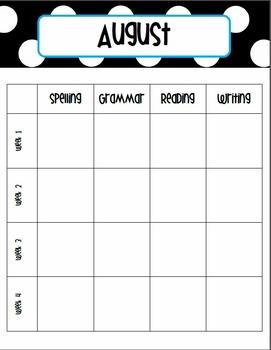 2014-15 Monthly Curriculum Planner