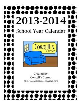 2013-14 School Calendar {No Lines}
