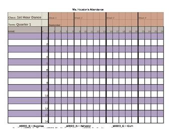 2013-2014 Attendance Book - Editable