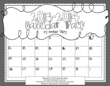 2013-2014 B&W Calendar