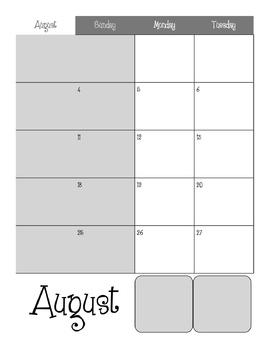 2013-2014 Binder Calendar *Editable*
