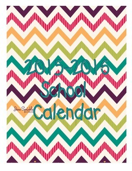 2015-2016 Bright Teacher Calendar Pages - Matching set to Binder Covers