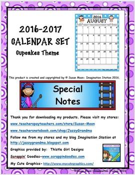 2016-2017 Calendar Set Cupcake Theme