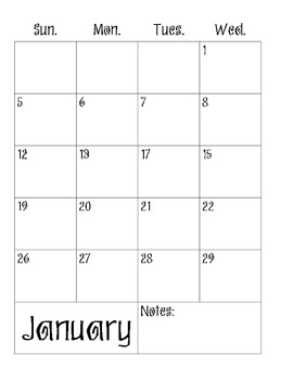 2013-2014 Calendar - lots of room for notes, planning
