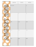 2017-2018 Calendar with Polka Dot Tabs