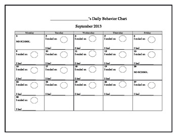 Clip Chart Behavior Calendar (Editable)