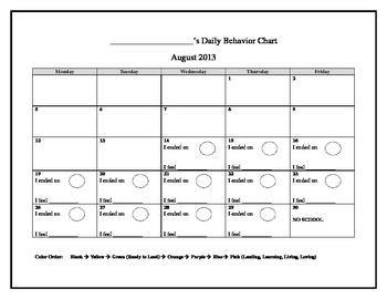 2013-2014 Clip Chart Behavior Calendar (Editable)
