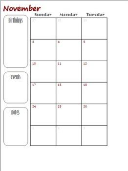 2013-2014 Teacher Binder Customizable Calendar