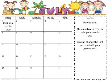 2017-2018  Editable Calendar with Notes Section