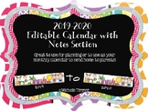2019-2020  Editable Calendar with Notes Section