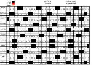 2017-2018 Horizontal Alignment Year-Long Plan Calendar Curriculum Map Template