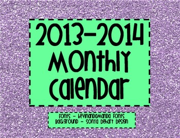 2013-2014 Monthly Calendar