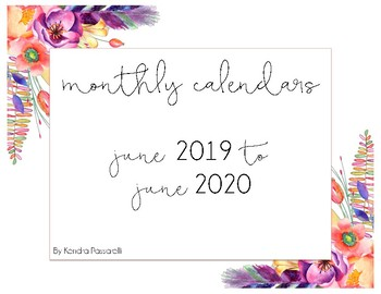 2017 - 2018 Monthly Calendars {july to june}
