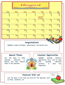 2013 2014 Monthly Classroom Newsletter Bundle