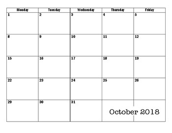 2017-2018 Monthly Planning Calendar