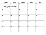 2018-2019 Monthly Planning Calendar