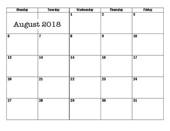 2016-2017 Monthly Planning Calendar