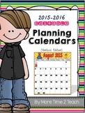 2015-2016 EDITABLE Monthly Planning Calendar {color & black/white-vertical}