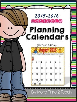 2015-2016 EDITABLE Monthly Planning Calendar {color & black/white-vertical}