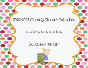 2015-2016 Monthly Student Calendars (Kindergarten Math Common Core)