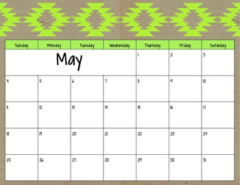 2013-2014 Neon Tribal Calendar FULL YEAR
