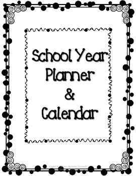 Polka Dot School Planner and Calendar (Blank Calendar Fill-in)