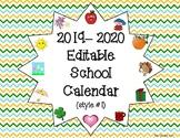 2018-2019 Editable School Calendar (style #1)